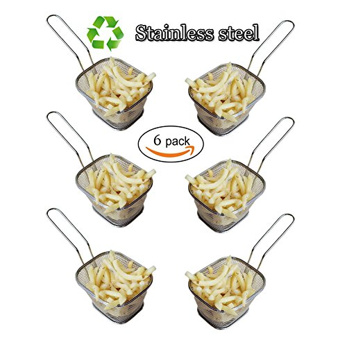 HUAJIAN Fry Basket 6 pcs Mini Square Stainless Steel Fry Basket Present Fried Food, Table Serving Frying basket