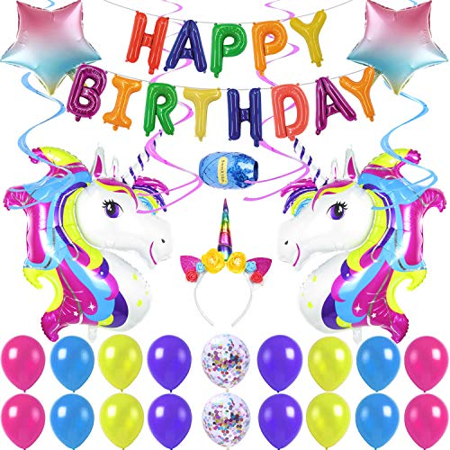 Rainbow Unicorn Birthday Party Supplies, Happy Birthday Decoration Set With Hanging Swirls, Five-Pointed Star Foil Balloon Confetti and Latex Balloons, Full Birthday Set 40PCS For Unicorn Birthday Party