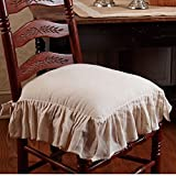 The Country House Collection Flax Ruffled French Country Chair Pad
