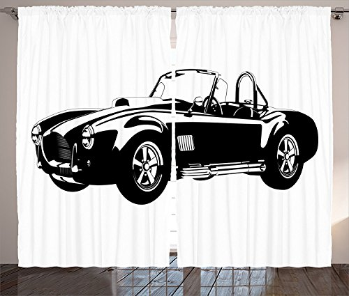Cars Decor Curtains American Authentic Aged Vehicle with Bright Stylized Wealth Properties Engine Icon Decor Living Room Bedroom Decor 2 Panel Set Black White,Size:2 x 54