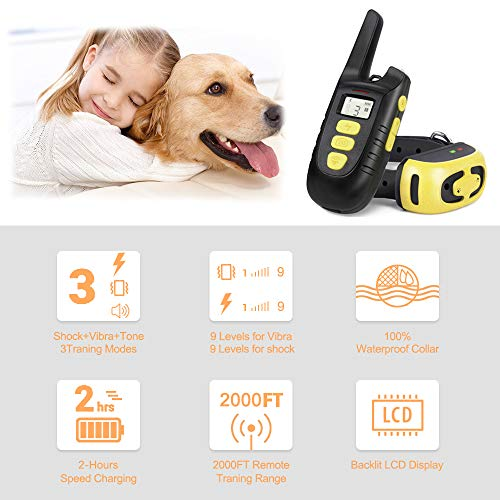 Fypet Shock Collar with Remote,2000ft/IP67 100% Waterproof Electric Shock/Vibration/Beep Control Dog Training Collar for Small Medium Large Dogs(2 Collars) by Fypet (Image #7)