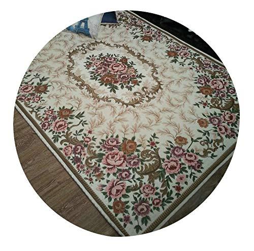 160 Cm Cream - Anti-Skid Jacquard Carpet for Living Room/Dining Bedroom Mat Floral Modern Pattern Absorbent Non-Slip Modern Carpet Mug,Cream,160Cmx230Cm