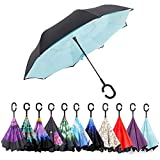 Inverted Umbrella, ELOVTOP Windproof Cars Double Layer Folding Reverse Umbrella (Tiffany Blue)