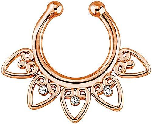 "Rose Gold Ion Plated Tribal Fan /""Non Piercing/"" Septum Hanger"