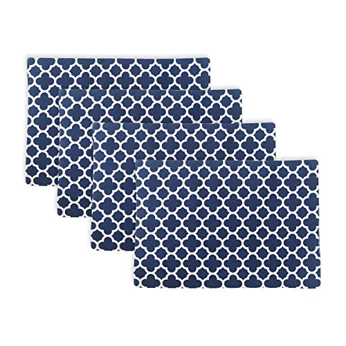 NATUS WEAVER Set of 4, 2 Side Cotton Placemats Heat Resistant Dining Table Place Mats for Kitchen Table, 12 x 18 inches, Geometric Trellis Chain Print, Navy Blue