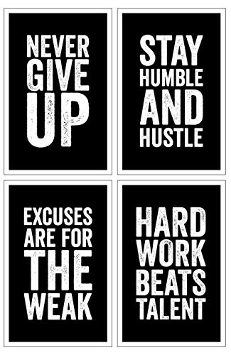 Damdekoli Motivational Posters, 11x17 Inches, Set of 4, Wall Art, Hustling, Entrepreneur Decoration, Inspirational Print -