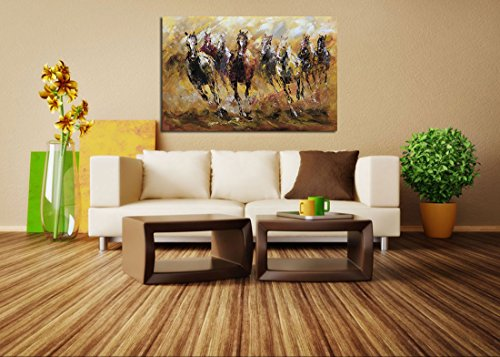 Metuu Oil paintings, Running Horse Paintings African Landscape Wild Animal Modern Home Decor Wall Art Painting Wood Inside Framed Hanging Wall Decoration Abstract Painting Ready to hang 24x36inch
