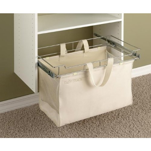 Easy Track Sliding Canvas Hamper Closet Storage, Off White