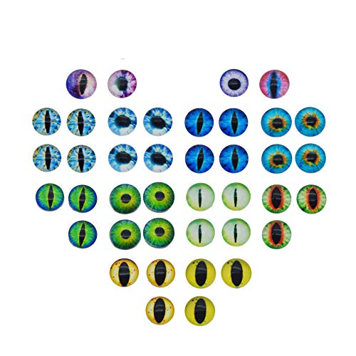 Glass Dragon Cat Eye Flatback Dome Cabochon for Jewelry or Doll Eyes Making ()
