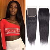 Brazilian Virgin Human Hair Lace Closure Straight 4x4 Free Part Silk Straight Human Hair Top Lace Closure 8A Grade 10...