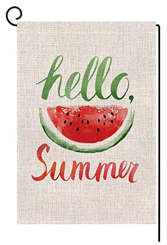 Summer Watermelon Small Garden Flag Vertical Double Sided 12.5 x 18 Inch Burlap Yard Outdoor Decor
