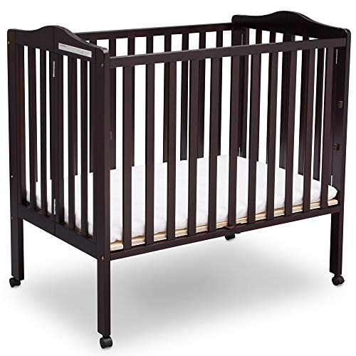 (Delta Children Delta Children Folding Portable Mini Baby Crib with Mattress, Dark Espresso, Dark Espresso)