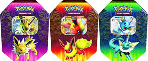 Pokémon POK82527-6 TCG: Elemental Power Tin (Vaporeon/Jolteon/Flareon-GX, one at Random), Mixed Colours