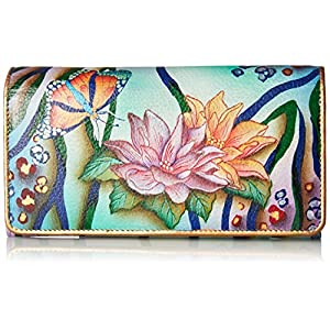 Anuschka Women's Hand Painted Accordion Flap Wallet   Genuine Leather