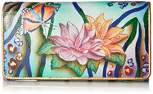 Anuschka Women's Hand Painted Accordion Flap Wallet | Genuine Leather | Zebra Garden ()