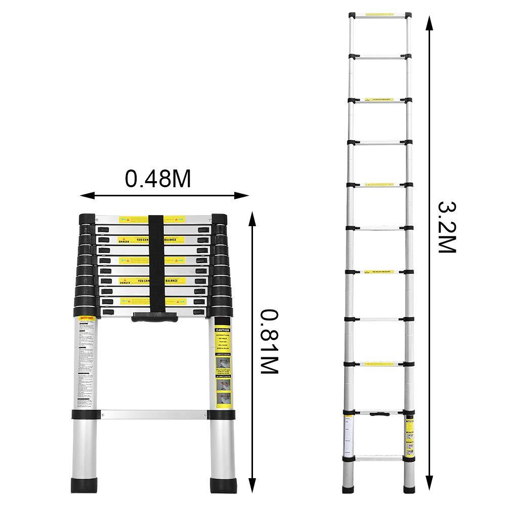 plegable plegable antideslizante multiusos Wolketon Escalera telesc/ópica de aluminio