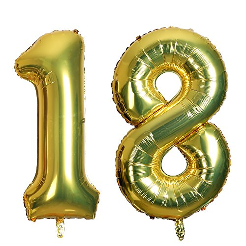 Smarcy Giant Foil Number 18 Balloon Birthday Party Decoration Anniversary Celebration Golden