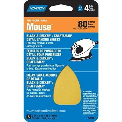 "Norton 07660702317 Iron Shape Sanding Sheet for Black and Decker/Craftsman Mouse Sander, Hook and Loop, 7"" Length x 3"" Width, P80 Grit, Coarse Grade (Pack of 5)"