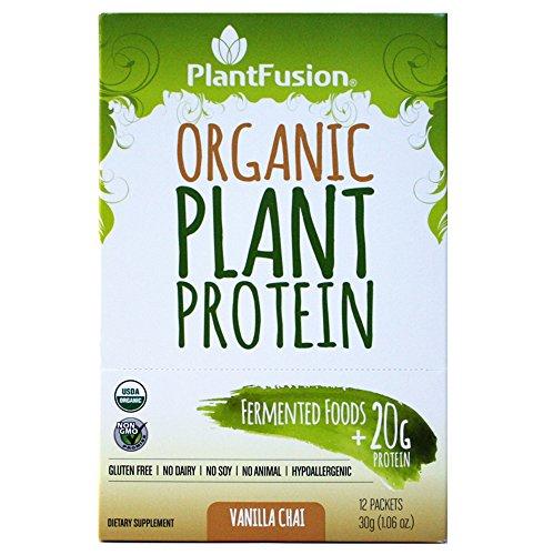 Cheap PlantFusion Organic Plant Based Protein & Fermented Foods Powder, Vanilla Chai, 1.06 oz  Single Serving Packet, 12 Count, USDA Organic, Vegan, Gluten Free