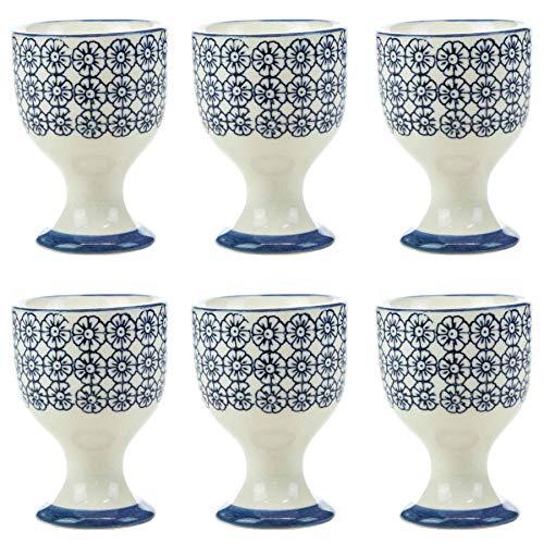 (Nicola Spring Patterned Egg Cups - Blue Flower Print Porcelain Breakfast Set - Pack of 6)