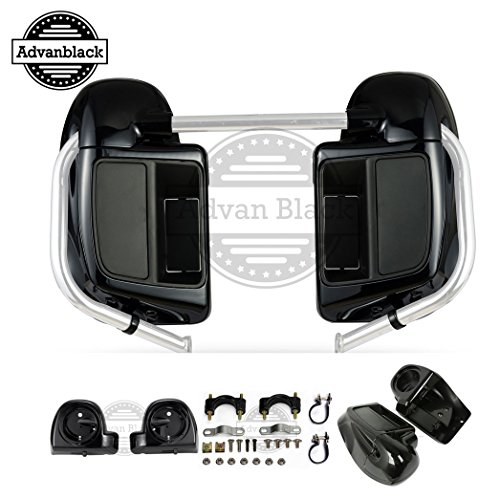 Us Stock Advanblack Vivid/Glossy Black Rushmore Lower Vented Fairings Kit 6.5 inch Speaker Pods Fit for Harley Touring Street Glide Road King Road Glide ()
