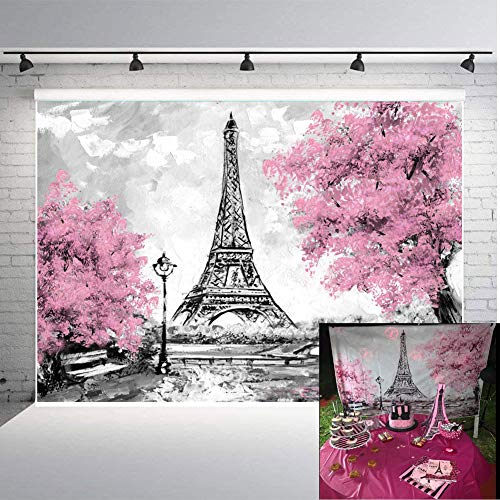 Art Studio Photography Backdrops Eiffel Tower Wedding Theme Party Photo Background Pink Flowers Trees Gray Paris Photo Studio Props Banner Vinyl 7x5ft -