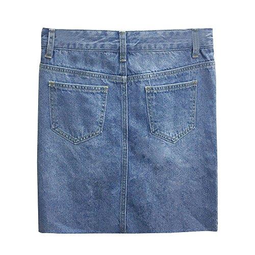 Sunenjoy Jupe Jeans Femme Denim Jupe Filles Slim Dechir Mini Jupe Taille Haute t Jupe Court Skinny Casual Mode Bleu