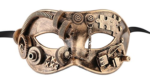 Luxury Mask Men's Vintage Design Masquerade Mask Steampunk Black Gold - Masquerade Costumes