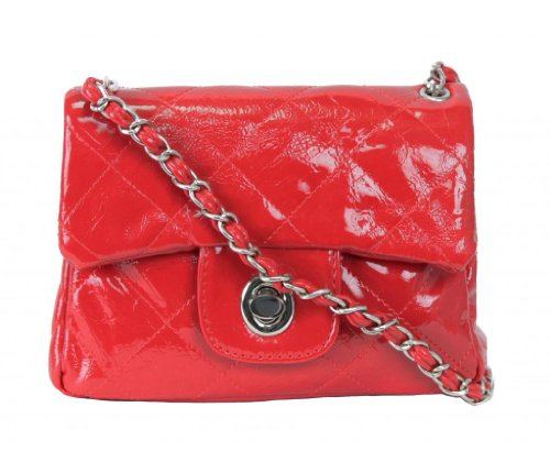 Shining All Black for By Strap Chain Fold Handbags Over Quilted Crossbody Small Red PSIZvP