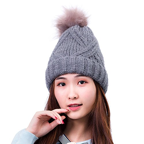 [HIG Women's Winter Knitted hat Beanie Plushy Winter Ski Cap Hats (Gray)] (Ice Skating Costume Ideas)