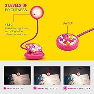 Cute Rechargeable 4 LED Eye-Care Book Light, Clip on Reading Lights for Reading in Bed at Night, 3 Levels, 1.8oz Super Light Weight, Up to 40 Hours Reading.Perfect Gift for Bookworms and Kid