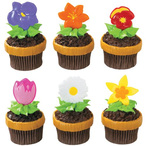 [Blooming Flowers Party Picks Party Accessory] (Halloween Cupcake Ideas Kids Decorate)