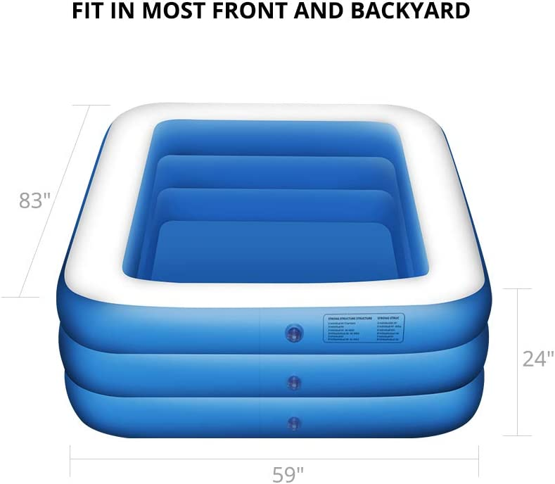 Garden Adult 3 Layer 83x59x24 Outdoor Summer Water Party Backyard Inflatable Swimming Pool Infant Toddlers Family Durable Thick Swim Center for Kids