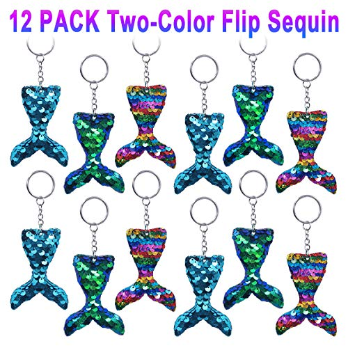 Pawliss Mermaid Party Favors, 12 Pack Flip Sequin Glitter Tails Mermaid Tail Keychains, Birthday Party Supplies Gifts Decorations for Kids Girls by Pawliss