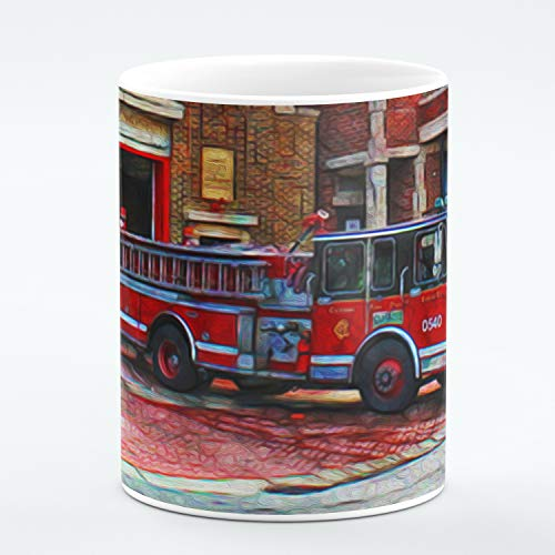 - Chicago Fine Art Mug. Chicago Fire Department Hall and Engine. Unique Limited Edition Painting Print Mug. Ideal Souvenir or Gift For Any Chicago Lover, Firefighter, Men Women, Boys Girls. 11 ounces