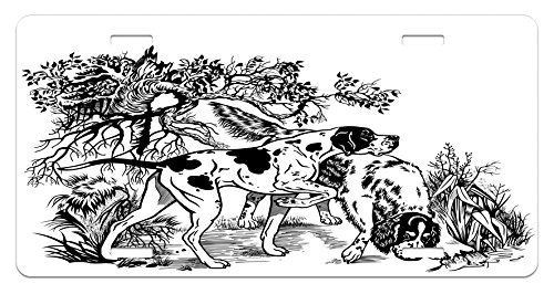 Ambesonne Hunting License Plate, Hunting Dogs in The Forest Monochrome Drawing English Pointer and Setter Breeds, High Gloss Aluminum Novelty Plate, 5.88 L X 11.88 W Inches, Black -