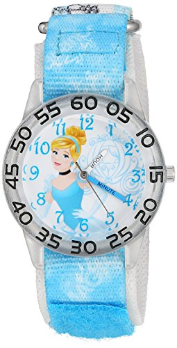 Disney Girl's 'Cinderella' Quartz Plastic and Nylon Watch, Color:Blue (Model: W002934)