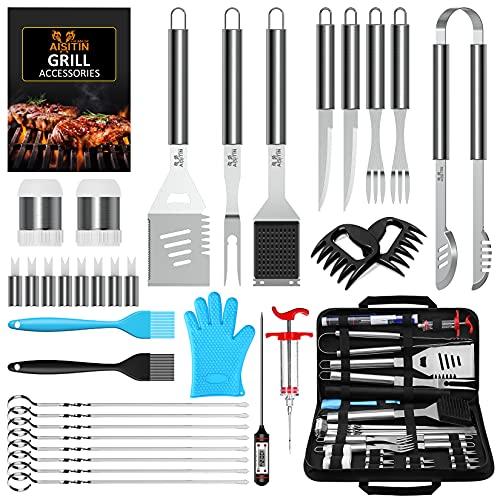 AISITIN 35er Pack BBQ Grillbesteck Tool Set Grillset mit Grillmatte Hochwertiger Edelstahl für Garten und Camping…