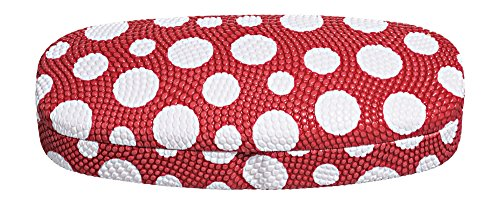 Hard Eyeglass Case, Glasses Holder For Women, Men, Girls, Boys- Polka Dot, Red