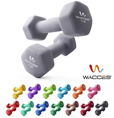 Wacces Neoprene Dipped Coated Set of 2 Dumbbells Hand Weights Sets Non Slip Grip 2 x 7 LB