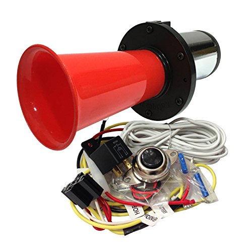 OEMLINK International LTD OOGA Horn Red Antique Classic Car Hot Rod Oooga Ahooga with Installation Wire Kit and Button (Hot Rod A C)