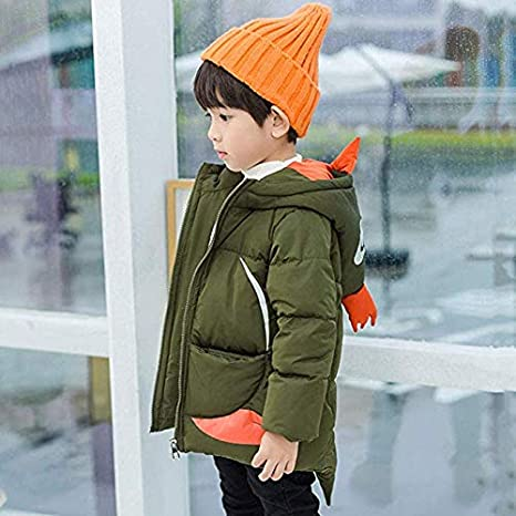 Children Boys Girls Hooded Coat Winter Warm Cartoon Penguin Down Puffer Jacket Lightweight Zipper Parka
