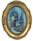 First Communion Praying Child Icon in Gold Embossed Oval Picture Frame, 4 3/8 inch (Boy)