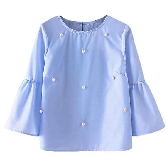 PAOLIAN Blusa de Mujer Baratas Manga Largas Otoño 2018 Blusa Costura de Perla Ropa para Mujer