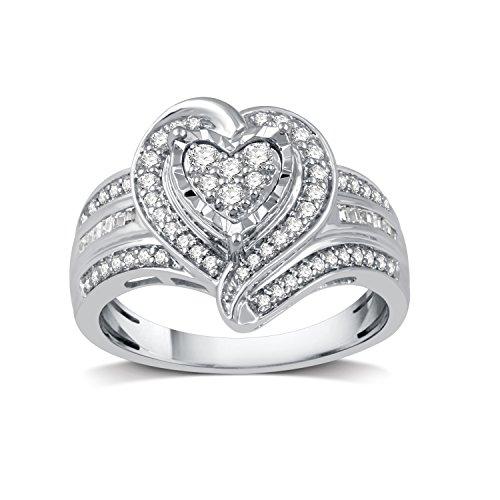 DeCarat 1/2 CT.T.W. Diamond Sterling Silver Fashion Heart-Shaped ()