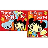 "Amscan Adorable Ni Hao Kai Lan Red Birthday Party Postcard Invitations and Thank You Cards Supply (8 Pack), 6.8"" x 4"", Red"