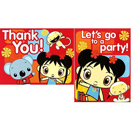 Amscan Adorable Ni Hao Kai Lan Red Birthday Party Postcard Invitations and Thank You Cards Supply (8 Pack), 6.8