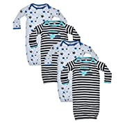 Quiltex Baby Girls and Boys Cotton Gown (4 Pack) Born to Rock, 3-6 Months'