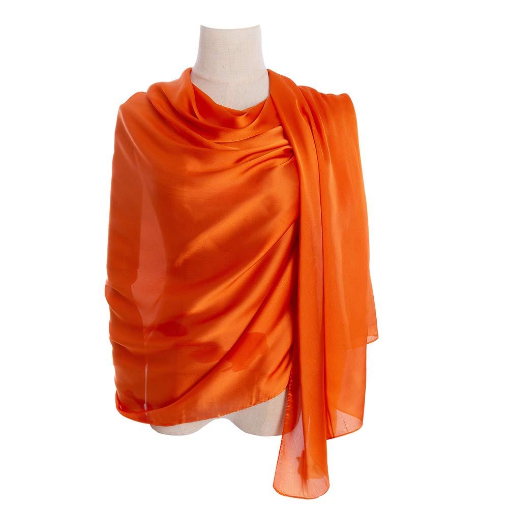 Cyzlann Women's Scarves 100% Silk Long Lightweight Scarfs for women (orange)