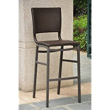Barcelona Resin Wicker Outdoor Bar Height Chairs Stools (SET OF2)